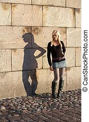 adolescent, ombre, girl