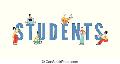 adolescent, ordinateur portable, vecteur, traversé,...