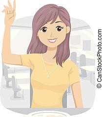 adolescent, ordre, note, reçu, girl, illustration, payer