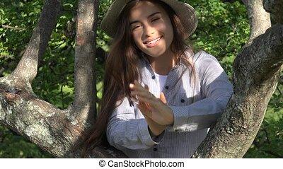 adolescent, parc, girl, arbre, dehors