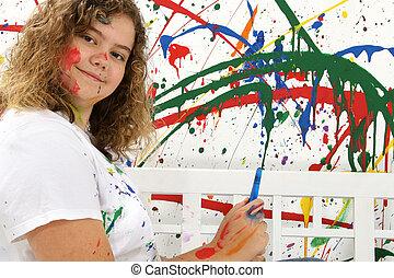 adolescent, peintre