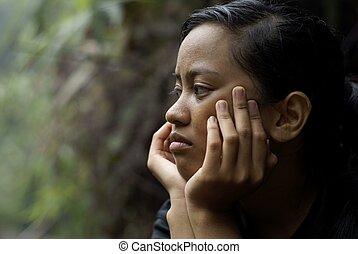 adolescent, pensée, figure, asiatique, mains, girl, préoccupé