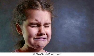 adolescent, peu, lent, style de vie, déprimé, valeur, couler, tears., triste, mouvement, arrière-plan., concept, pleurer, blanc, video., girl, dépression