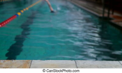 adolescent, piscine, natation