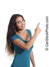 adolescent, pointage, promoter, présentation, girl, côté, heureux