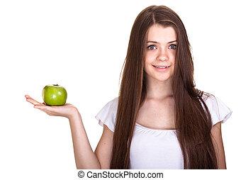 adolescent, pomme, girl, isolé, jeune, blanc vert, sourire heureux