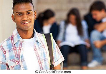 adolescent, porter, indien, étudiant, cartable