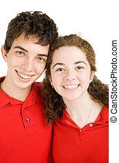 adolescent, portrait, couple