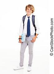 adolescent, portrait, longueur, entiers, étudiant