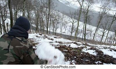 adolescent, poussée, boule de neige, colline