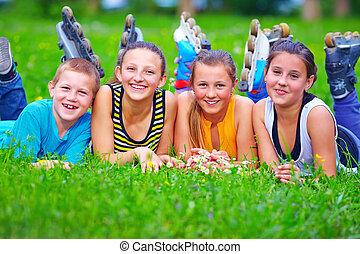 adolescent, printemps, parc, amusement, amis, avoir, heureux