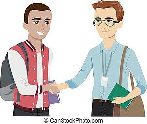 adolescent, prof, saluer, illustration, rencontrer, type