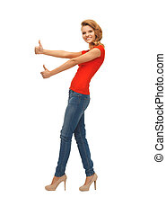 adolescent, projection, haut, t-shirt, pouces, girl, rouges