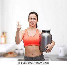 adolescent, projection, pot, haut, pouces, girl, protéine