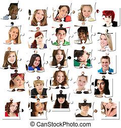 adolescent, puzzle, faces, vingt-cinq, morceaux