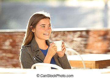 adolescent, reposer, café-restaurant, heureux