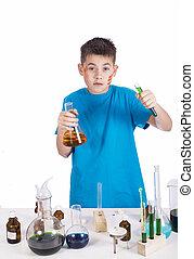 adolescent, rigolote, background:, jeune, chimiste, education
