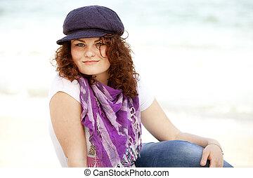 adolescent, rigolote, plage., séance, sable, girl