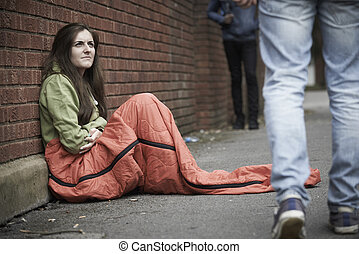 adolescent, rue, girl, vulnérable, dormir