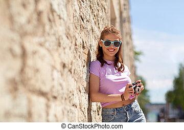 adolescent, rue, nuances, appareil photo, girl, heureux