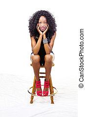 adolescent, séance, tabouret, américain, africaine, maigre, girl