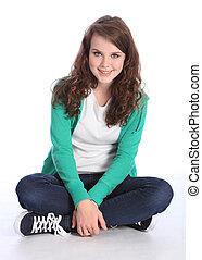 adolescent, séance traverse jambes, étudiant, girl, heureux