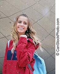 adolescent, sac à dos, hiver, girl