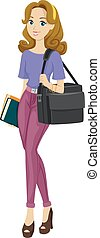 adolescent, sac, girl, occupé, multimédia