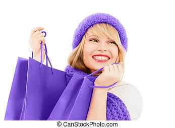 adolescent, sacs, achats, girl, chapeau, écharpe