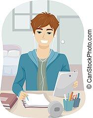 adolescent, salle, tablette, étude, type, notes