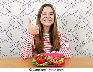 adolescent, sandwich, pouce haut, girl, heureux