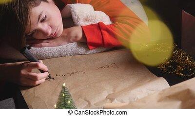adolescent, santa, écriture, long, garçon, lettre