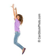 adolescent, sauter, girl