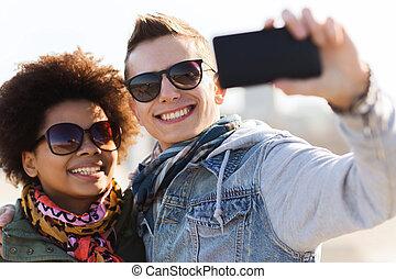 adolescent, selfie, nuances, amis, prendre, heureux