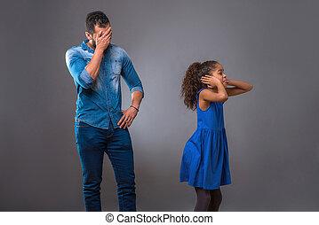 adolescent, sien, fille, père, jeune, noir