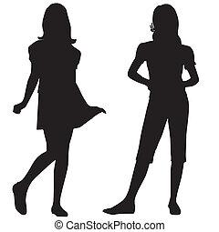 adolescent, silhouettes