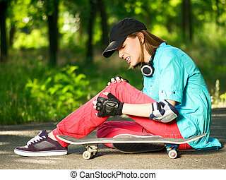 adolescent, skateboard, girl