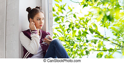 adolescent, smartphone, girl, écouteurs