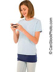 adolescent, smartphone, girl