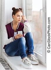 adolescent, smartphone, girl, rebord fenêtre, séance