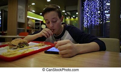 adolescent, smartphone, manger, frire, francais, utilisation