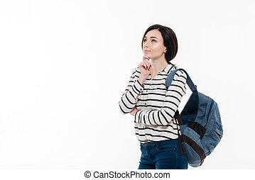 adolescent, songeur, sac à dos, portrait, girl, agréable