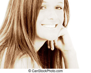 adolescent, sourire, girl