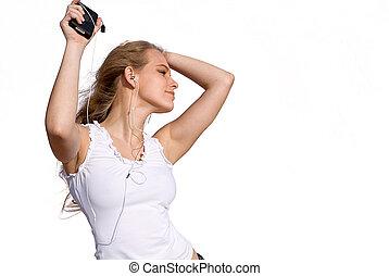 adolescent, stéréo, danse femme, personnel, jeune, musique, ou