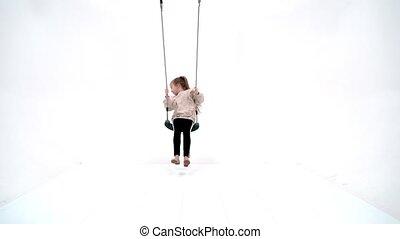 adolescent, swing., beau, oscillation, girl, école