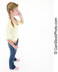 adolescent, téléphone, cellulaire, utilisation, fille souriante