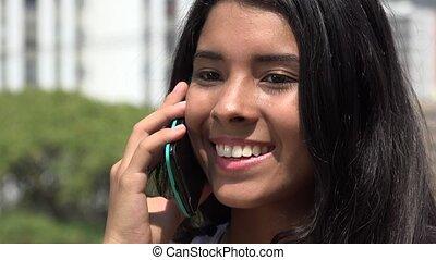 adolescent, téléphone, girl, cellule, conversation