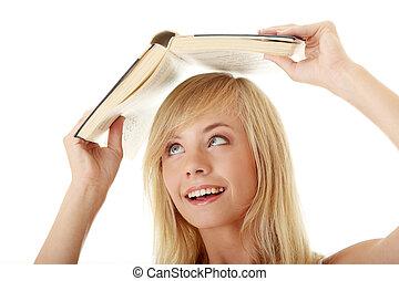 adolescent, tête, elle, sur, livre, girl