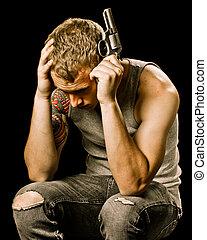 adolescent, tête, suicide, concept, adolescent, tenue, mâle, pistolet, dépression