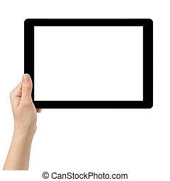 adolescent, tablette, écran, main, pc, femme, utilisation, blanc